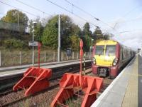 A 334 at the terminus in Larkhall, five years on from re-opening. The first of three major re-openings in Scotland.<br><br>[John Yellowlees&nbsp;28/10/2010]
