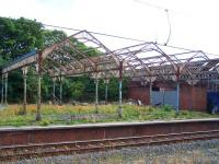 A view of the skeletal old north end canopy frames at Tynemouth in 2010.<br><br>[Colin Alexander&nbsp;18/08/2010]