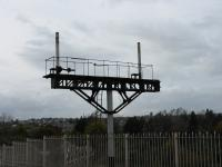 At Barry Island station, a bare gantry guards the exit from the island platform.<br><br>[John Thorn&nbsp;28/10/2010]