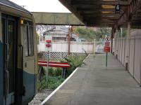 A class 143 at the stop sign on the only platform remaining at Barry Island.<br><br>[John Thorn&nbsp;28/10/2010]