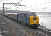 Deltic 55022 <I>Royal Scots Grey</I> with 'The West Lothian Pioneer' heading east towards Bathgate on 6 November 2010 along the south shore of Hillend reservoir on the recently completed Airdrie - Bathgate line.<br> <br><br>[Bill Roberton&nbsp;06/11/2010]