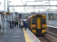 Arrival at the new Bathgate station, 6 November 2010. <br><br>[Brian Forbes&nbsp;06/11/2010]