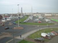 The site of Blackpool Central MPD, as seen from the top floor of nearby Blackpool FC stadium looking towards Blackpool Central station in 2010. Prior to the 1964 closure there were 19 tracks from left to right at this point including a four track mainline, eight road shed and other associated sidings in between. Since the image was taken the car park has closed with housing built on the old shed site. <br><br>[Mark Bartlett&nbsp;27/10/2010]