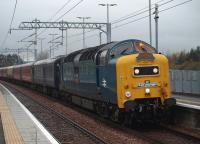 55022 <I>Royal Scots Grey</I> running over an hour late with<br> <I>The West Lothian Pioneer</i>, passes slowly through Uphall on an overcast 6 November 2010 in the wake of the ScotRail 1254 ex-Bathgate service.<br> <br> <br><br>[Brian Forbes&nbsp;06/11/2010]