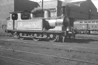 Class J72 0-6-0T no 68736, a regular station pilot at Newcastle Central, relaxing on Gateshead shed in October 1962.  One of the depot's growing allocation of EE Type 4 diesels stands in the background.<br><br>[K A Gray&nbsp;06/10/1962]