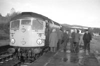 Passengers return to the last westbound Speyside passenger train after a photo stop at Boat of Garten on 2nd November 1968.<br><br>[David Spaven&nbsp;02/11/1968]