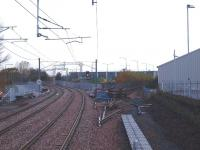 View west from the new Bathgate station on 6 November 2010, with the line into the former single platform terminus now severed. <br><br>[Brian Forbes&nbsp;06/11/2010]