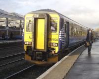 156508 calls at Kilmarnock with 09.25 Glasgow Central - Carlisle train on 10 November.<br><br>[Ken Browne&nbsp;10/11/2010]