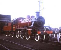 Preserved Ivatt 2-6-0 no 6441 on display at Carnforth in the summer of 1970.<br><br>[Jim Peebles&nbsp;//1970]
