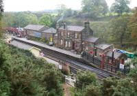View over Goathland station on 14 October 2009. The flags, window tape, old posters, sandbags etc are all part of the preparations for one of the NYMR <I>Wartime Weekends</I>.<br><br>[John Furnevel&nbsp;14/10/2009]