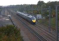 One of the Hitachi Class 395 high speed electric sets operated by <br> Southeastern is seen on HS1 heading through Kent on a St Pancras to Ramsgate service on 28 October 2010.<br> <br><br>[John McIntyre&nbsp;28/10/2010]