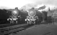 K1 2-6-0s 62043 and 62048 photographed in the yard of  their home shed at Darlington on 25 January 1964. Resident V2 60916 stands just beyond.<br><br>[K A Gray&nbsp;25/01/1964]