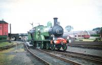 Ex-Great North of Scotland Railway 4-4-0 No 49 <I>Gordon Highlander</I>, in the sidings at the south end of Lockerbie station on 13 June 1959. The locomotive had brought in the SLS <I>Golden Jubilee Special</I> from Glasgow Buchanan Street and was about to run round prior to taking the 5 coaches plus observation car on to Dumfries tender first via the Lochmaben line. The ensemble would later return north from Dumfries via the G&SW route with the tour finishing at St Enoch. <br><br>[A Snapper (Courtesy Bruce McCartney)&nbsp;/06/1959]