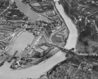 Part of a 1948 poster showing Bristol's Cumberland Basin (Docks) in almost the original layout. If you look closely you can discern the tracks that fed into the complex via the 'road over rail' Ashton Swing Bridge, bottom right. [See image 31558 for a view of the bridge today].<br><br>[Peter Todd&nbsp;//1948]