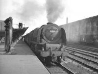 One of Kingmoor's Stanier Pacifics no 46255 <I>City of Hereford</I> stands at Carlisle in July 1963 having taken over the 10.00 ex-Euston bound for Perth. <br><br>[K A Gray&nbsp;27/07/1963]