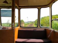 The forward view from an AC railcar approaching Weybourne on the North Norfolk Railway in May 2010.<br><br>[Ian Dinmore&nbsp;/05/2010]