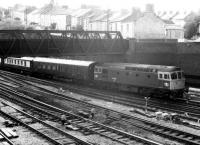 33.059 hauling VSOE stock (empty, if I recall correctly) east into  Newport in the late eighties. Cardiff was an <I>Orient Express</I> destination in those days.<br><br>[Ken Strachan&nbsp;/08/1987]
