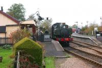 Ex-GWR 0-6-0PT no 1638 arrives at Northiam station on the Kent and East Sussex Railway on 28 October 2010 with a train for Tenterden Town. <br> <br><br>[John McIntyre&nbsp;28/10/2010]