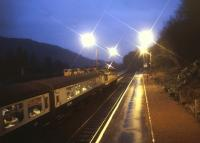 An evening train calls at Dunkeld on its way south in October 1989.<br><br>[Ian Dinmore&nbsp;/10/1989]