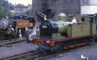 J72 0-6-0T no 69023, in <I>Newcastle Central station pilot</I> green, and USA 0-6-0T no 30072 in <I>American Brown</I> livery, are both in steam in Haworth yard in 1969, not long after the Worth Valley branch reopened as a preserved line. <br><br>[David Hindle&nbsp;//1969]