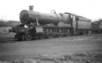 Built in the BR era and scrapped in 1965 after only 15 years service, modified Hall no 7912 <I>Little Linford Hall</I> stands on Tyseley shed in September 1958. <br><br>[Robin Barbour Collection (Courtesy Bruce McCartney)&nbsp;28/09/1958]