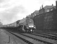 A4 Pacific no 60028 <I>Walter K Whigham</I> comes off the King Edward Bridge shortly after leaving Newcastle Central on 6 October 1962. The train is the 9.30am Glasgow Queen Street - London Kings Cross. <br><br>[K A Gray&nbsp;06/10/1962]