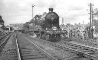 The RCTS <I>Borders Railtour</I> stands at St Boswells on 9 July 1961 behind ex-NBR no 256 <i>Glen Douglas</i> and J37 no 64624. The train had recently arrived from Greenlaw and was about to visit the Jedburgh branch. <br><br>[K A Gray&nbsp;09/07/1961]