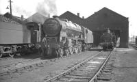 Royal Scot no 46165 <I>The Ranger (12th London Regt)</I> on shed at Kingmoor in June 1962.<br><br>[K A Gray&nbsp;07/06/1962]