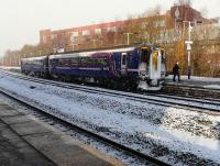 A 156 arrives at Kilmarnock on the 10.12 Glasgow Central - Carlisle service in falling snow on 1 December 2010 during what has been an extended period of bad weather causing disruption to road, rail and air services.<br><br>[Ken Browne&nbsp;01/12/2010]