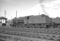 One of the four named Black 5s, no 45158 <I>Glasgow Yeomanry</I>, stands on Beattock shed in April 1963.<br><br>[K A Gray&nbsp;15/04/1963]