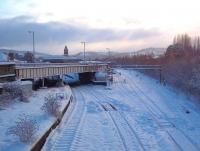 The northern approach to Perth station, photographed from the Glasgow Road overbridge on 1 December 2010.<br><br>[Andrew Wilson&nbsp;01/12/2010]
