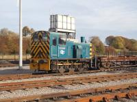 BR class 03 Drewry diesel-mehanical shunter no 03090, now part of the national collection, stands in the yard at NRM Shildon on 23 November 2010. <br><br>[John Furnevel&nbsp;23/11/2010]