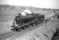 Class D34 4-4-0 no 62471 <I>Glen Falloch</I> at Greenlaw during the BLS <I>Scott Country Railtour</I> on 4 April 1959.<br><br>[Robin Barbour Collection (Courtesy Bruce McCartney)&nbsp;04/04/1959]