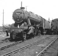 Stanier 8F 2-8-0 no 48723 on Lostock Hall shed in 1966.<br><br>[Jim Peebles&nbsp;//1966]