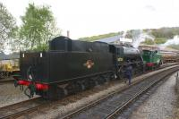 Little and Large at Keighley station in May 2010 in the shape of 0-6-0T 'Nunlow' and WD 2-8-0 no 90733<br> <br><br>[John McIntyre&nbsp;03/05/2010]