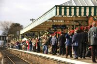 Looks like the train's late again! Scene at Sheringham station on the North Norfolk Railway on 11 March 2010. The crowd is awaiting the arrival of  Britannia Pacific no 70013 <I>Oliver Cromwell</I> with <I>The Broadsman</I> RTC special from Liverpool Street to celebrate the reopening of Sheringham level crossing and reconnection to the national rail network. [See image 28075]<br><br>[Ian Dinmore&nbsp;11/03/2010]