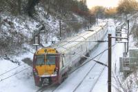 334035 passing through Elderslie on 2nd December slowing as it approaches Johnstone station<br><br>[Graham Morgan&nbsp;02/12/2010]