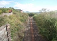 Looking towards Dalmellington at Waterside in a view from the overbridge leading to the Scottish Industrial Railway Centre. Some of the centre's buildings can be seen here, high above the line itself. <br><br>[Mark Bartlett&nbsp;17/09/2010]
