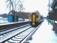 Standing in for the normal Class 153, and a long way from its usual South Wales haunts, Arriva Trains Wales 150264 was working the Crewe - Shrewsbury shuttle thoughout 30 November. It is seen approaching a deeply snow covered Yorton Station to form the 14.34 stopping service to Crewe<br><br>[David Pesterfield&nbsp;30/11/2010]