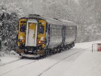 156510 departs Pollokshaws West in heavy snow on 6th December on a service to Barrhead<br><br>[Graham Morgan&nbsp;06/12/2010]