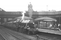 Stanier 8F no 48197 at Nottingham Victoria on 13 August 1966 with the RCTS <I>Great Central Rail Tour</I>. The train had arrived from London Waterloo behind <I>West Country</I> Pacific no 34002 <I>Salisbury</I> and the 8F handled the next leg of the tour as far as Shireoaks. [See image 30330] <br><br>[K A Gray&nbsp;13/08/1966]