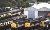General view over part of 87E Landore diesel depot, Swansea, in the summer of 1991.<br><br>[Ian Dinmore&nbsp;07/07/1991]