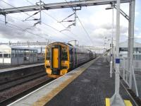 158 705 stands at Bathgate waiting to return to Edinburgh on 24 <br> November 2010.�<br><br>[David Panton&nbsp;24/11/2010]