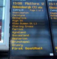 New destinations appear on the Edinburgh Waverley travel indicator on Sunday 12 December 2010.<br><br>[Andrew Wilson&nbsp;12/12/2010]
