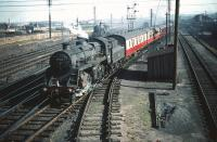 BR Standard class 4 2-6-0 no 76111 leaves Craigentinny sidings with empty stock in September 1959.<br><br>[A Snapper (Courtesy Bruce McCartney)&nbsp;30/09/1959]