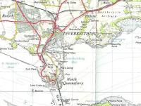 Extract from an OS one inch map published in 1957.� It contains a rare representation of the elusive line connecting RNAS Donibristle with the East Ness jetty at Inverkeithing, used to transport seaplanes.� The start of the branch and level crossing can be made out, but the next stretch is missing, as are all details of the airbase (and Rosyth Naval Dockyard) for national security reasons.� Note that Dalgety Bay was then just that: a bay.�[Crown Copyright 1957.]<br> <br><br>[David Panton&nbsp;//1957]