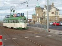 Brush railcar 632, restored and back in service for the Blackpool and Fleetwood 125 year celebrations, reverses and crosses over to the southbound line at Cabin. Just off picture to the right is a pub known as.....Uncle Tom's Cabin.<br><br>[Mark Bartlett&nbsp;16/10/2010]