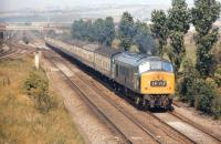 What appears to be class 46 locomotive no 176 passing Ouston Junction in August 1971 with the 10.10 Edinburgh - Kings Cross. The photograph was taken from the embankment of the South Pelaw - Tyne Dock line, which crossed the ECML at this point. <br> <br><br>[Bill Jamieson&nbsp;20/08/1971]