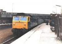 A class 47 at Larbert in the 1980s with a train for Aberdeen.<br><br>[Jim Peebles&nbsp;//]