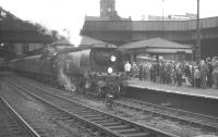 <I>West Country</I> light Pacific no 34002 <I>Salisbury</I> at Nottingham Victoria on 13 August 1966 with the RCTS <I>Great Central Railtour</I>.<br><br>[K A Gray&nbsp;13/08/1966]